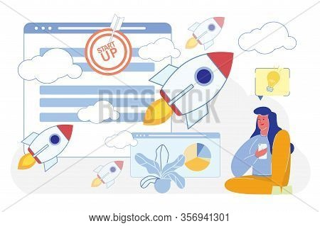 Businesswoman Or Freelancer, Woman Character Launching Business Project With Mobile Phone Applicatio
