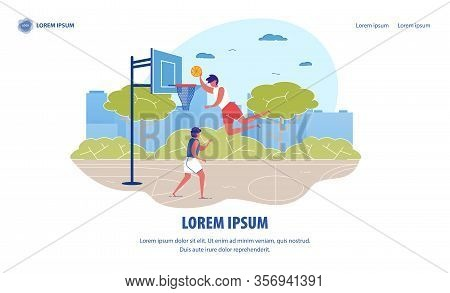 Street Basketball Banner. Cartoon People Playing On Outdoor Court Playground Vector Illustration. Ma