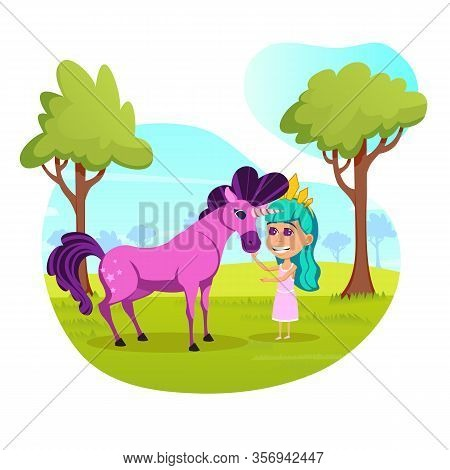 Purple Unicorn With Luxuriant Mane. Little Fairy With Turquoise Hair And Golden Crown, Petting Magic