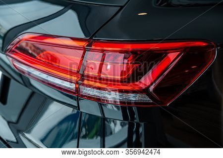 Novosibirsk, Russia - March 09, 2020:  Volkswagen Touareg,  Detail Light Close Up Of On New Car. Ext
