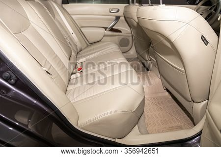 Novosibirsk, Russia - January  31, 2020:  Nissan Teana, Rear Seat For Passengers In  Beige Leather ,