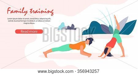 Mother And Little Daughter Healthy Lifestyle. Woman Stand In Plank Posture, Girl Doing Yoga Asana Or