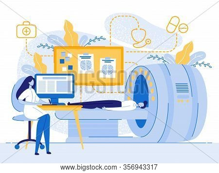 Cartoon Man Patient Mri Woman Doctor Examining Vector Illustration. Magnetic Resonance Imaging Techn