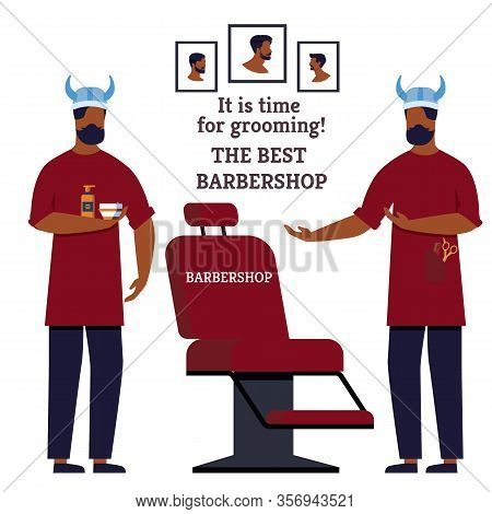 Poster It Is Time For Grooming The Bast Barbershop. Specialists Offer Their Services Changing Hairst