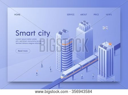 Isometric Is Written Smart City Landing Page. Layout Large Modern City. Vehicles On Streets Megalopo