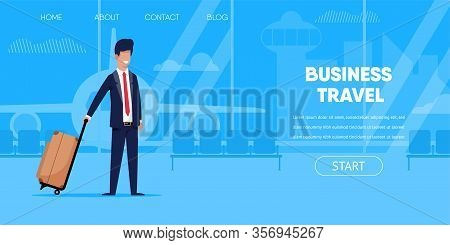 Business Travel Concept. Businessman In Suit Suitcase Bag In Airport Terminal Interior Window Airpla