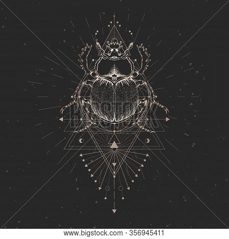 Vector Illustration With Hand Drawn Scarab And Sacred Geometric Symbol On Black Vintage Background A