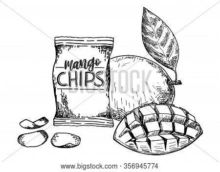 Mango Chips. Fruit Chips. Vegetarian Chips. Healthy Food Vector Illustration. Vegetarian Food.