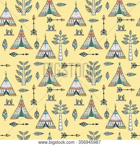 Tribal Seamless Pattern. Creative Boho Style Pattern With Ethnic Arrows, Teepee Or Wigwam, Stylish H