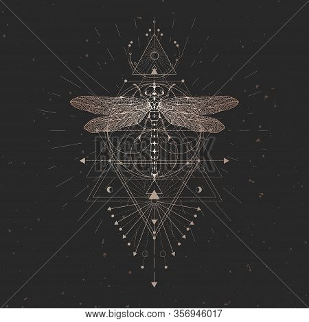 Vector Illustration With Hand Drawn Dragonfly And Sacred Geometric Symbol On Black Vintage Backgroun