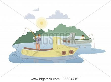 Fishermen In Motor Boats Flat Vector Illustration. Fishery Business, Angling Hobby, Occupation. Prof