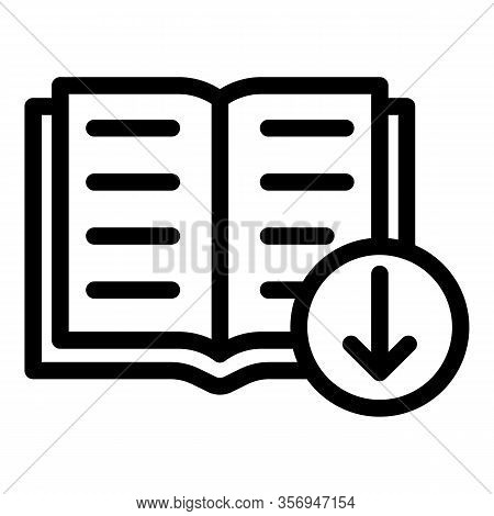 Book And Arrow Download Icon. Outline Book And Arrow Download Vector Icon For Web Design Isolated On