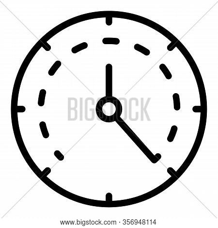 Analog Clock Icon. Outline Analog Clock Vector Icon For Web Design Isolated On White Background