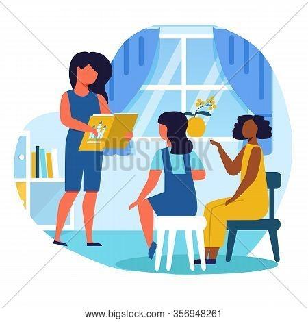 Girls Reading Fairy Tale Flat Vector Illustration. Little Girlfriends, Kindergarten Pupils Cartoon C