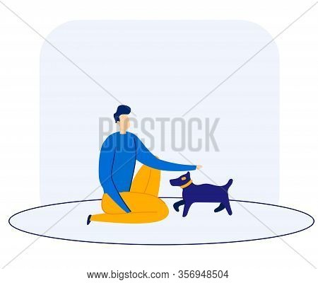 Informational Banner Dog Training Cartoon Flat. Man Crouched And Stroking Small Breed Dog. Guy Is Tr