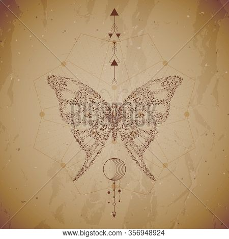 Vector Illustration With Hand Drawn Butterfly And Sacred Geometric Symbol On Vintage Paper Backgroun