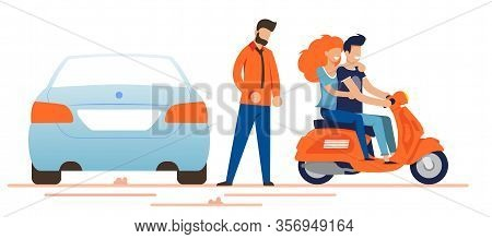 Happy Smiling Man And Woman Driving Moped Near Car Owner. Couple In Love Having Romantic Dating And