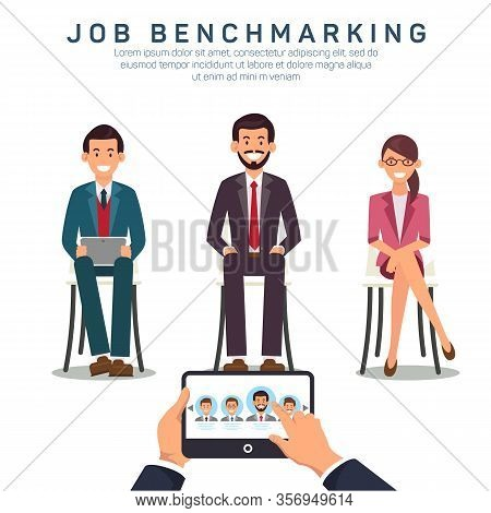 Job Benchmarking App Flat Vector Banner Template. Comparing Candidates Proficiency And Efficiency Us