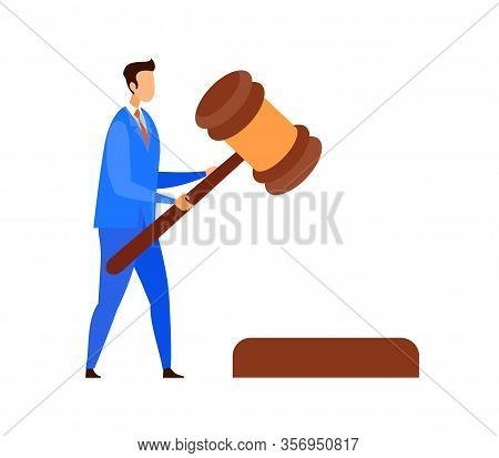 Lawyer, Judge, Legal Advisor Vector Character. Cartoon Attorney Holding Wooden Gavel. Civil And Poli