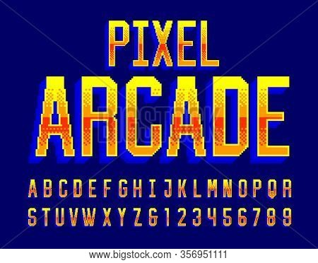 Pixel Arcade Alphabet Font. Digital 3d Effect Letters And Numbers. 80s Arcade Video Game Typescript.