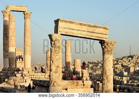 Amman, Jordan - February 15, 2020. Unidentified People At Sunset In Amman Citadel, Jordan. The Amman