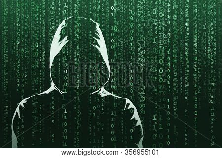 Anonymous Computer Hacker Over Abstract Digital Background. Obscured Dark Face In Mask And Hood. Dat