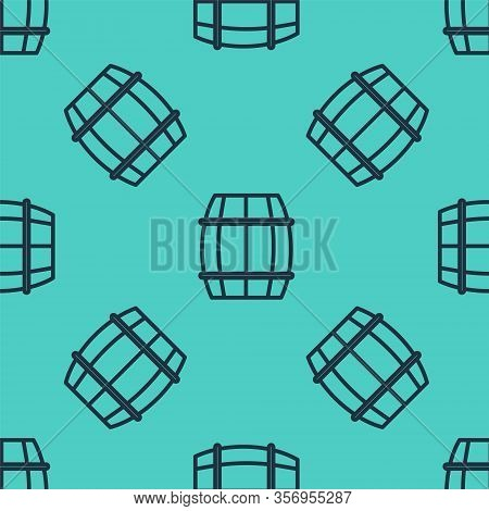 Black Line Wooden Barrel Icon Isolated Seamless Pattern On Green Background. Alcohol Barrel, Drink C