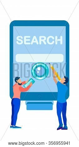 People Surfing Internet Flat Vector Illustration. Men With Magnifying Glass, Pencil Cartoon Characte