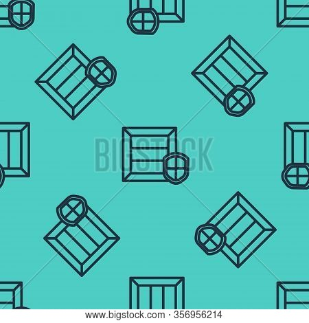 Black Line Delivery Pack Security With Shield Icon Isolated Seamless Pattern On Green Background. De