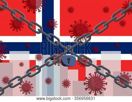 Norway Flag With Outbreak Deadly Coronavirus Covid-19. Concept Of Coronavirus Quarantine. Coronaviru