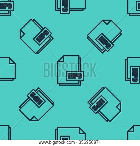 Black Line Mp3 File Document. Download Mp3 Button Icon Isolated Seamless Pattern On Green Background