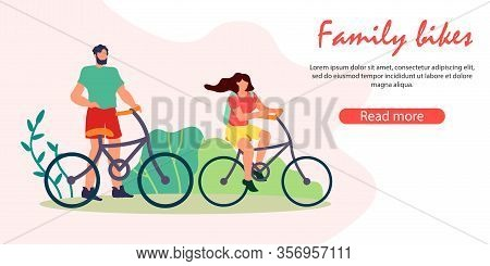 Summer Time Outdoors Activity, Man And Woman Riding Bikes In Public Park, Young People Vacation Spar