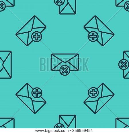 Black Line Delete Envelope Icon Isolated Seamless Pattern On Green Background. Delete Or Error Lette
