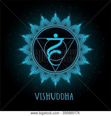 Vector Illustration With Symbol Chakra Vishuddha On Black Background. Round Mandala Pattern And Hand