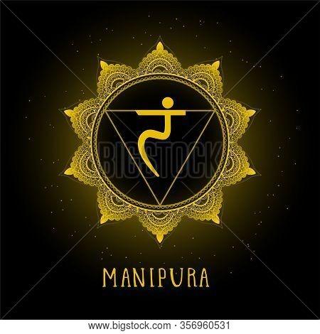 Vector Illustration With Symbol Chakra Manipura On Black Background. Round Mandala Pattern And Hand