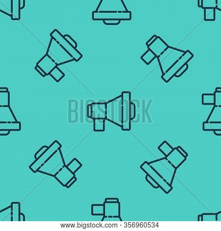 Black Line Megaphone Icon Isolated Seamless Pattern On Green Background. Loud Speach Alert Concept.