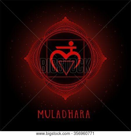 Vector Illustration With Symbol Muladhara - Root Chakra On Black Background. Round Mandala Pattern A