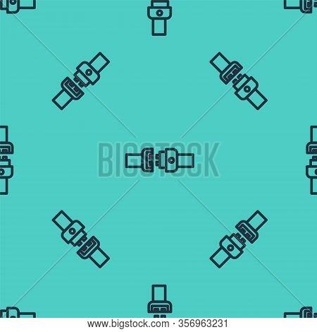 Black Line Safety Belt Icon Isolated Seamless Pattern On Green Background. Seat Belt. Vector Illustr