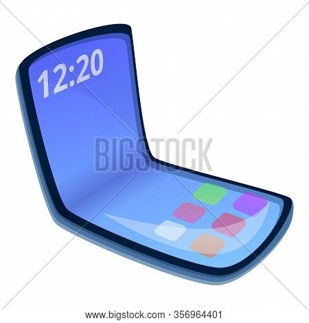 Flexible Cellphone Icon. Cartoon Of Flexible Cellphone Vector Icon For Web Design Isolated On White