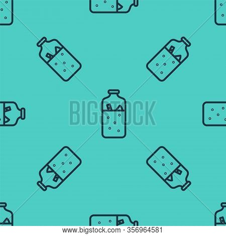 Black Line Mulled Wine With Ingredients Icon Isolated Seamless Pattern On Green Background. Cinnamon