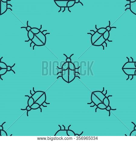Black Line System Bug Concept Icon Isolated Seamless Pattern On Green Background. Code Bug Concept.