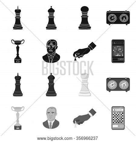 Vector Illustration Of Checkmate And Thin Sign. Set Of Checkmate And Target Stock Vector Illustratio