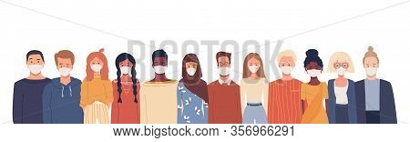 Multiethnic Group Of People In White Medical Face Mask. Global Society. Health. Disease Epidemic, Co