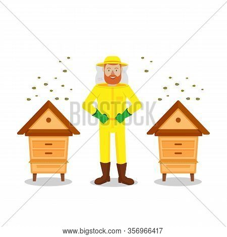Protective Suit. Beekeeper Between Two Hive On White Background. Bees Flying Near Hive. Stand Near H