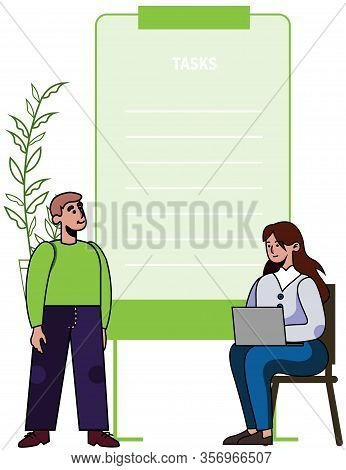 Business Task List Compilation Coaching. Man Stand Near Woman Sitting With Laptop. Cartoon Student A