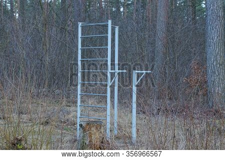 Gray Iron Sports Horizontal Bars And Parallel Bars In Nature Among Grass And Trees