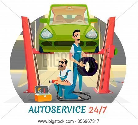 Autoservice Working Twenty-four-hour Ad Poster. Flat Banner Advertising Professional Mechanics Team