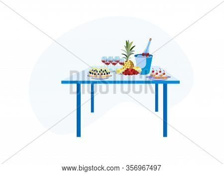 Buffet Table With Different Treats And Alcohol Drinks For Guests Isolated On White Background, Appet