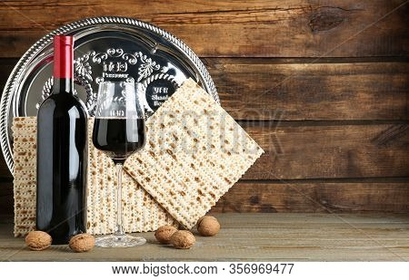 Composition With Passover Matzos On Wooden Table, Space For Text. Pesach Celebration