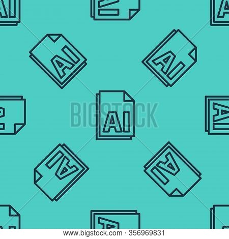Black Line Ai File Document. Download Ai Button Icon Isolated Seamless Pattern On Green Background.